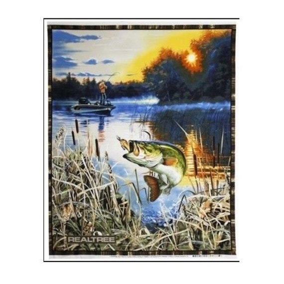 Realtree Bass Fishing Nature Scene Fabric Quilt Panel