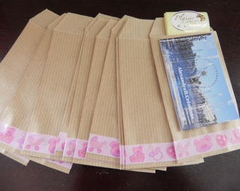 BABY collection: 30 Kraft envelopes 7 x 12 cm decorated with a masking tape pink