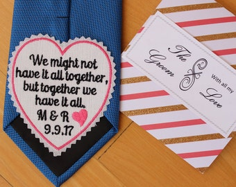 GROOM Tie Patch with gift envelope, together we have it all, tie label, Tie Patches, Groom Gift from Bride, heart patch, custom S9