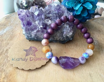 Mother Gift Amethyst Gemstone bracelet. Moonstone Bracelet for Protection, Abundance. Purple Quartz Bracelet. Boho Bead Bracelet, Mala beads