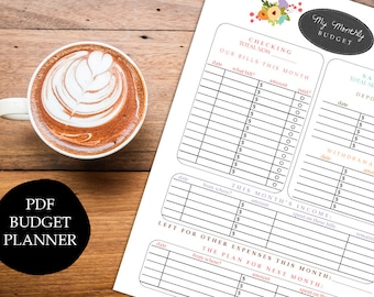Printable budget planner organizer monthly financial finances organizer diy pdf jpeg template family budget - INSTANT DOWNLOAD digital