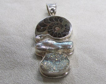 Sterling Silver, Nautilus Shell, Baroque Pearl and Druzy Pendant