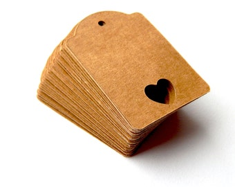 10 -100 pcs. Gift Tags, Shower Favor Tags, Heart Tags, Wedding Tags, Kraft Tags, Luggage Tags, Weddings Showers, Wrapping  Note  Tags