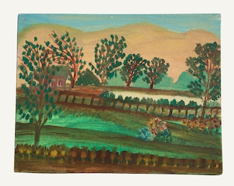 Original landscape painting, vintage artwork, 1950s, schoolhouse, naive art, primitive art