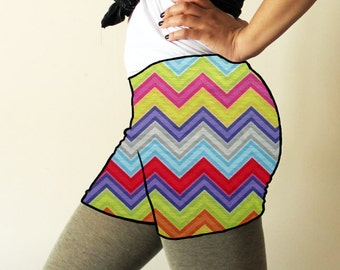 Made to order shorts - Colours of spring chevron print - available in sizes XS, S, M, L, XL and custom sizes - kezbirdie