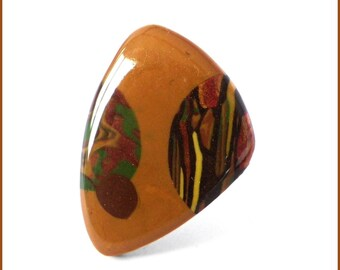 Ring cabochon out of polymer clay yellow mustard Brown resin original