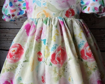 Easter Dress, RTS 2T Easter Dress, Floral Dress, Spring Dress, Ready To SHIP, Spring, Cap Sleeve, Twirl Dress, Pastel