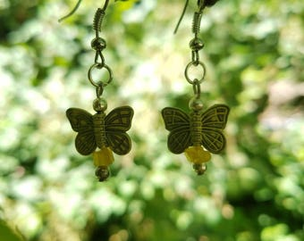 Yellow Antique Silver Butterfly and Moonstone Earrings