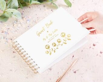 Floral Foil Wedding Guest Book