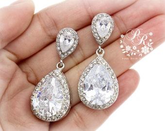 Wedding Earrings Platinum Zirconia Earrings Wedding Jewelry Rose Gold Bridesmaid Earrings Bridal Earrings Wedding Accessory Bridal Jewelry