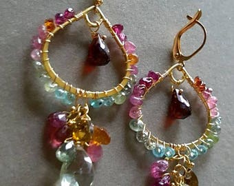 Watermelon Tourmaline with Green Amethyst Mozambique Garnet Chandelier Earrings On Gold Filled Leverback