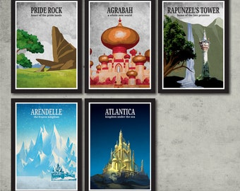 Vintage Disney Poster Set -  Pride Rock, Agrabah, Rapunzel's Tower, Arendelle, Atlantica