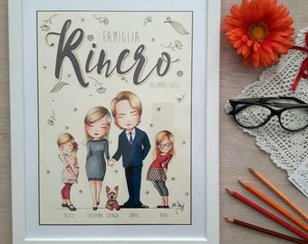 RITRATTO DI FAMIGLIAx4  personalizzato,illustrazione, Custom Family Portrait,  (4 soggetti)