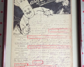 "Old restaurant menu ""Chez Emile"""