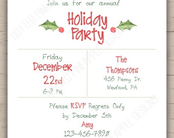 Coral Holly Holiday Party Invitation (Digital Download)