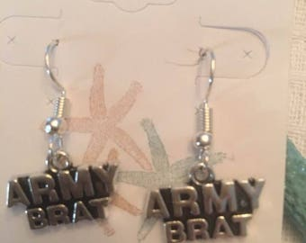 Army Brat Earrings,Army,Brat,Military Jewelry,
