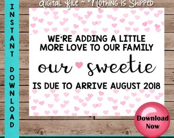 Valentine's Day Pregnancy Announcement Sign, We're Adding a Little More Love to Our Family, Baby Photo Props, Two Months Included