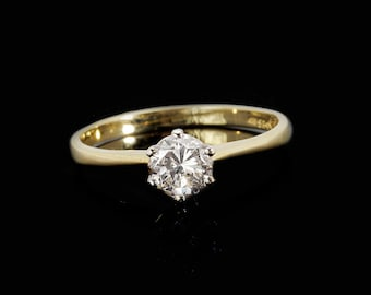 Solitaire diamond Ring 0.50 ct-Solitaire engagement ring-Promise ring-Wedding & Engagement-For her-Women Jewelry-Anniversary ring-Gold ring