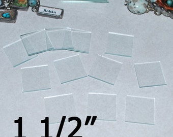30 Pack of 1-1/2 x 1-1/2 Square Memory Glass for Solder Art Jewelry Piece ((( pack of 30 ))) 1.5 Inch Squares