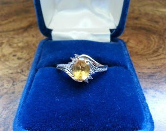 Vintage Citrine, Sterling Silver and 10K Gold Ring - Size 9 1/2