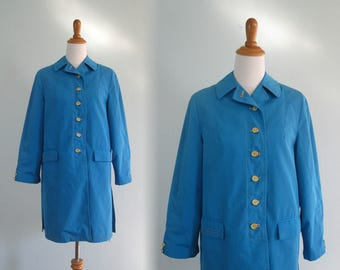 60s Blue Trench - Vintage Sky Blue Short Trench Coat with Yellow Buttons - Mod 60s Blue Jacket - Vintage 1960s Trench Coat M