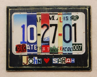 GIFT OF TIN Anniversary Date 10 Ten Year First Names Heart Wedding, Birthday 20 30 40 50 Aluminum Gift License Plate Art Sign Plaque