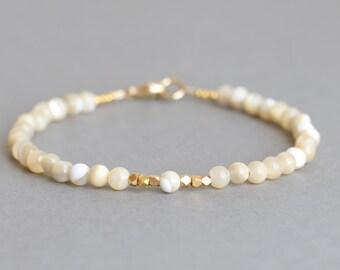 Pearl Bracelet Beaded Bracelet Mother of Pearl Gold Stacking Bracelet Gift for Women