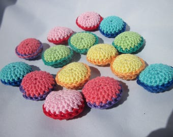 5 different macarons made 100% cotton 3.3 cm wide.