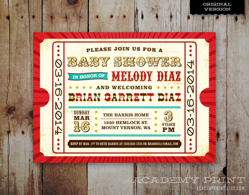 Printable Carnival Baby Shower Invitation Circus Theme Baby