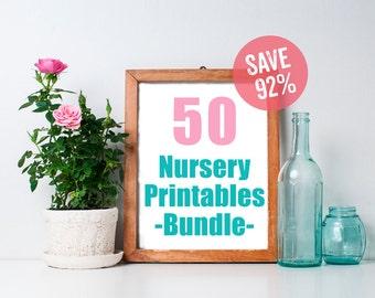 Nursery Art Bundle (Set of 50 8x10s) - Printable Art, Fox Nursery Decor, Woodland Creatures, Nursery Printables, Nursery Prints, Wall Art