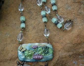 Frog on Lily Pad Necklace—Butterflies