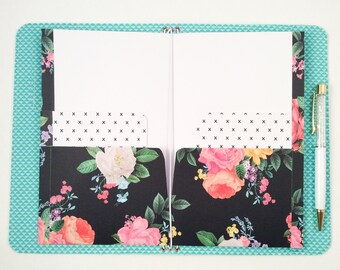 Black Floral Cross Cashier Cardstock Double Pocket Inserts/Midori Insert/ Midori Planner Insert/ Travelers Notebook Insert