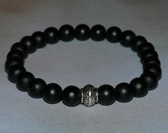 Buddha Matte Black Onyx Man Bracelet (Mala)