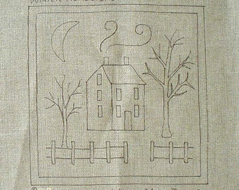 "WINTER HOMESTEAD; Hand drawn Rug Hooking Pattern; 14"" x 14""; Easy pattern for beginners"