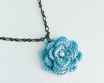 Hyde Park Crochet Necklace in Light Blue, Spring Flower, Crochet Flower, Flower Pendant, Blue Rose, Easter Gift, Gift Under 30, Garden Party
