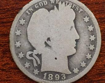 1893-O Barber Quarter, Liberty Head Quarter M364