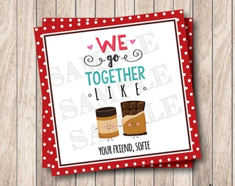 Personalized Printable We Go Together Like Tags, Printable Peanut Butter & Chocolate Valentine Tags, Valentine Peanut Butter Tags