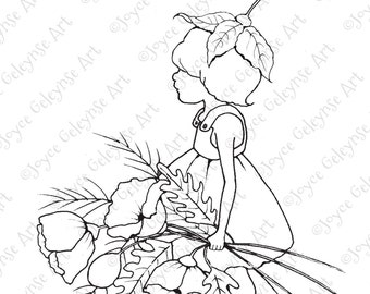 Digital Stamp, Little Wood Sprite with Big Poppies: Freehand Drawing, Commercial Use, Coloring for Adults and Kids, INSTANT DOWNLOAD