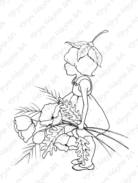 Digital Stamp Little Wood Sprite With Big Poppies Freehand Drawing Commercial Use Coloring For Adults And Kids INSTANT DOWNLOAD From