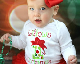 Baby Girl First Christmas Outfit Baby Girl My First Christmas Shirt Baby Girl Christmas Outfit Baby Girl Christmas Bodysuit