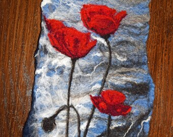 Poppies by Water. Wet and Needle felted Art work wall hanging