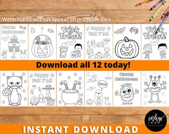 Halloween Activity Kids Coloring Book INSTANT DOWNLOAD | Printable Halloween Coloring Sheet | Coloring Pages Party Favor | Halloween Digital