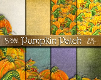 Pumpkins Digital Paper Pack | Based on Acrylic Canvas Painting | Digital Download | Scrapbook Paper | Autumn, Fall, Halloween, Thanksgiving