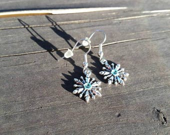 Snowflake Earrings blue accent - Winter Christmas Earrings - Holiday Jewelry - Womens Earrings - Charms