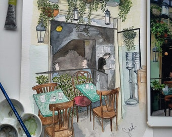 Print Watercolor Illustration of a Restaurant in Brooklyn - Free shipping
