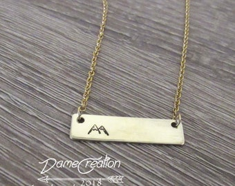 Hiking Gifts for Women, Mountain Bar Necklace, Mountains Birthday Gifts, Hike Like a Girl, Brass Necklace Women, Mountains are Calling