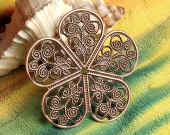 Antique copper flower wrap 36mm, Select your quantity  (item ID ACFF36)