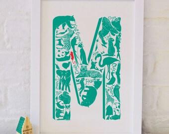 Animal Alphabet Letter M - Nursery print - Nursery decor - Childrens art  - Christening Gift