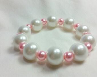Valentine Bracelet, White and Pink Bracelet, Stretch Bracelet, Valentines Day, Gift for Her