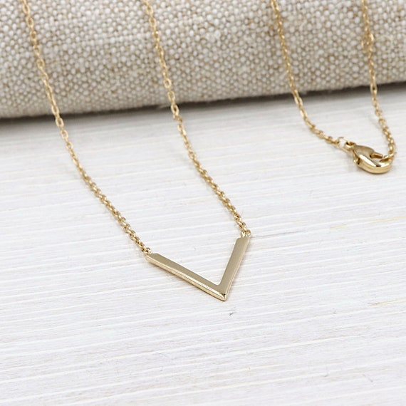 gold plated V necklace for women